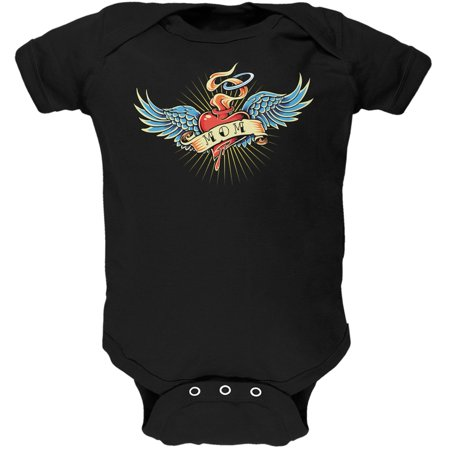 Mother's Day - I Love My Tattoo Mom Black Soft Baby One Piece for $<!---->