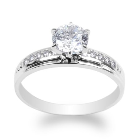 10K White Gold 1.0ct Clear CZ Fancy Engagement Solitaire Ring Size 4-10 10k White Gold Solitaire