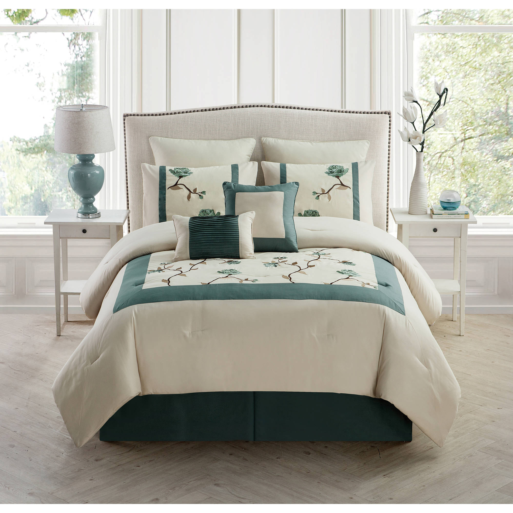 Trousdale 8-Piece Embroidered Bedding Comforter Set, Euro Shams included