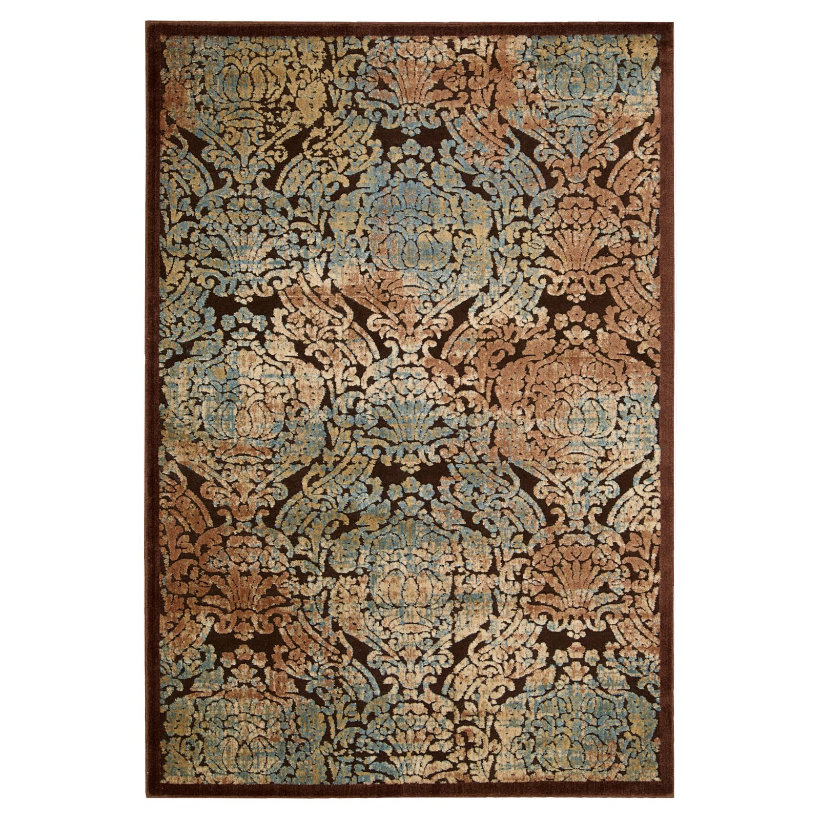 "Nourison Graphic Illusions Parch Damask Runner Rug 2'3"" x 8'"