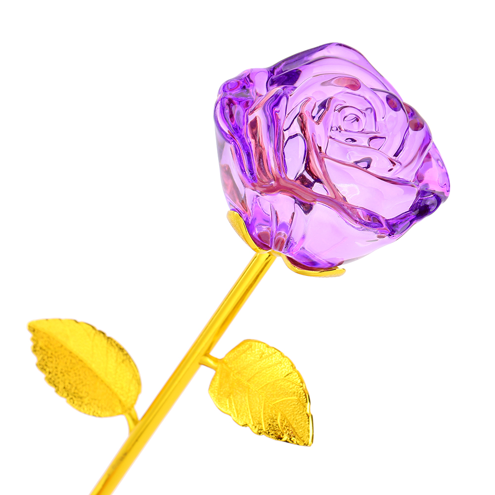 WALFRONT 24K Gold Plated Rose Flower Long Stem Artificial Rose Flower Birthday Valentines Gift Mother's Day Anniversary Best for Her