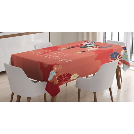 Year of the Dog Tablecloth, Japanese Flourishing Petals with Canine Silhouette on Cloudy Background, Rectangular Table Cover for Dining Room Kitchen, 60 X 90 Inches, Multicolor, by Ambesonne