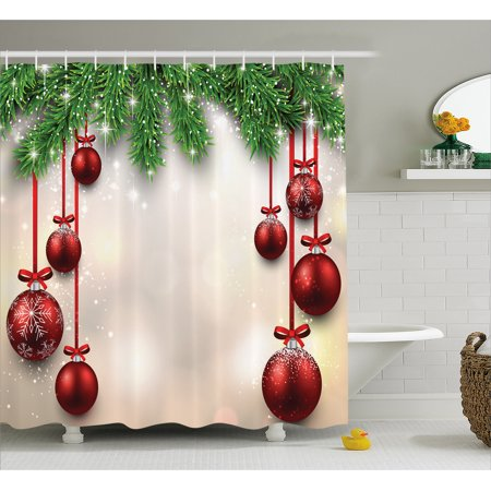 Christmas Shower Curtain Set, Xmas Inspired Winter Season Theme Fir Twigs and Vibrant Balls Decor Graphic Print, Bathroom Decor, Green Red, by Ambesonne