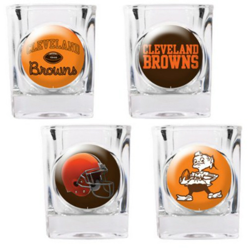 Great American Products Cleveland Browns Shot Glass Set 4pc Collectors Shot Glass Set