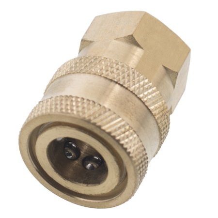 Erie Tools 1/4in. FPT Female Brass Socket Quick Connect Coupler 4000 PSI 10 GPM for Pressure Washer Nozzle Gun Hose Wand