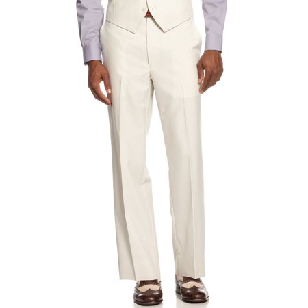 SEAN JOHN Flat Front Dress Pants 30 x 30 Cream Striped  Suit Separates Stripe Suit Separates
