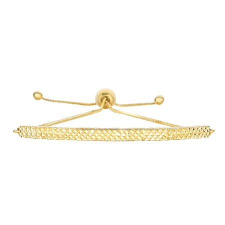 - 14K Yellow Gold Diamond Cut Curved Bar Element Anchored on Box Chain Adjustable Bracelet , 9.25