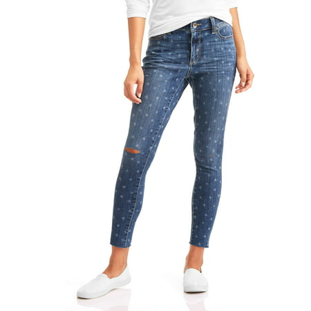Time And Tru Womens Star Print Skinny Jeans