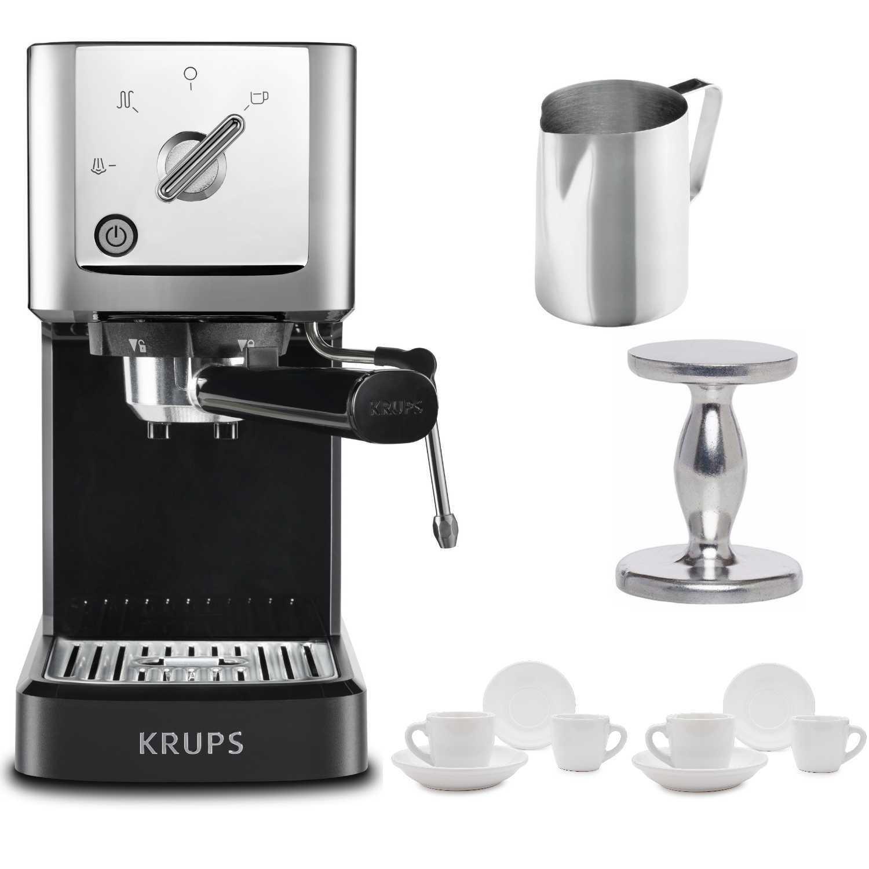 KRUPS XP344C51 Calvi Steam And Pump Compact Espresso Machine (Black) Bundle