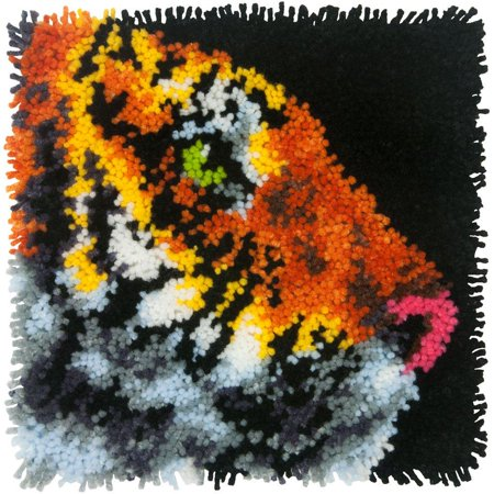 Latch Hook Instructions (Tiger Latch Hook Craft Kit for Kids, 12'' x 12'', Tiger latch hook kit includes pre-cut acrylic yarn, printed mesh canvas, and easy to follow instructions. Latch.., By)