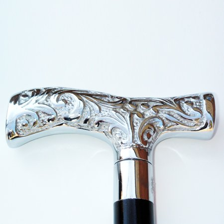 Antique/Vintage Style Silver Handle Victorian Cane Nickel Wooden Walking Stick (Silver Handle Walking Cane)