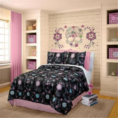 Rainbow Skulls 736425601682 Comforter Set, Twin - Black