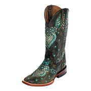 Ferrini Western Boots Womens Jubilee Wide Square Toe Teal 84693-43