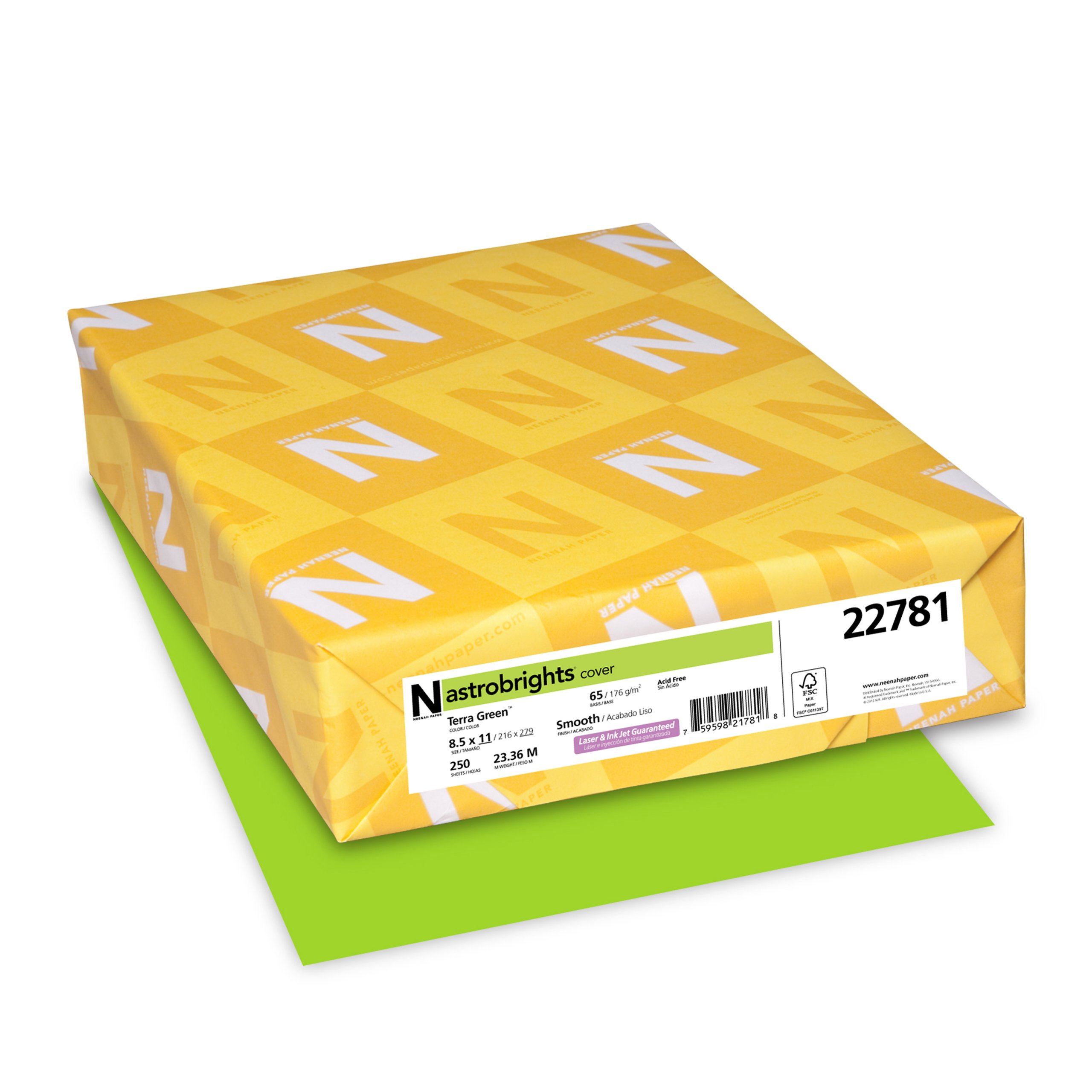 Astrobrights Colored Cardstock, 8.5 x 11, 65 lb/176 gsm, Terra Green, 250 Sheets (22781)