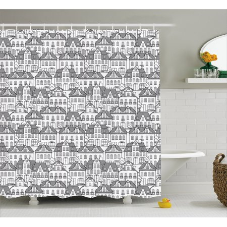 City Shower Curtain Houses And Trees Geometrical Pattern Town Design Monochrome Illustration Doodle Art
