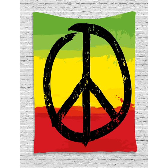 Rasta Tapestry Grunge Style Watercolor Design African Flag Colors