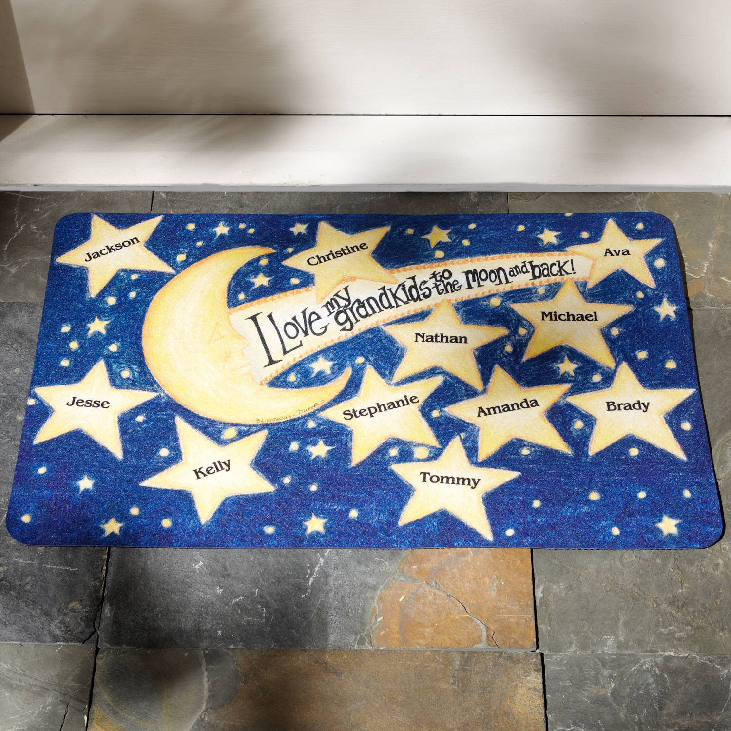 """Personalized Grandparents """"To the Moon and Back"""" Doormat, 24"""" x 36"""", Available in 2 Styles"""