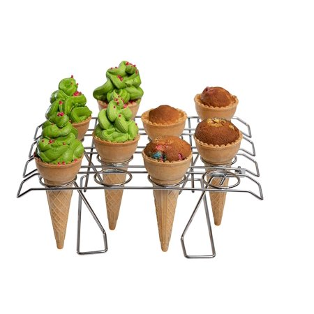 Cupcake Cone Baking Rack - 16 Ice Cream Cone Holder, Cones Stand, Foldable Cake Decorating Pastry Tray, Stainless
