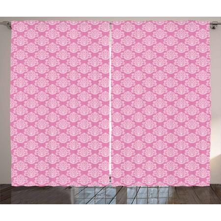 Pink Curtains 2 Panels Set, Intricate Flower Motifs Artistic Petals ...