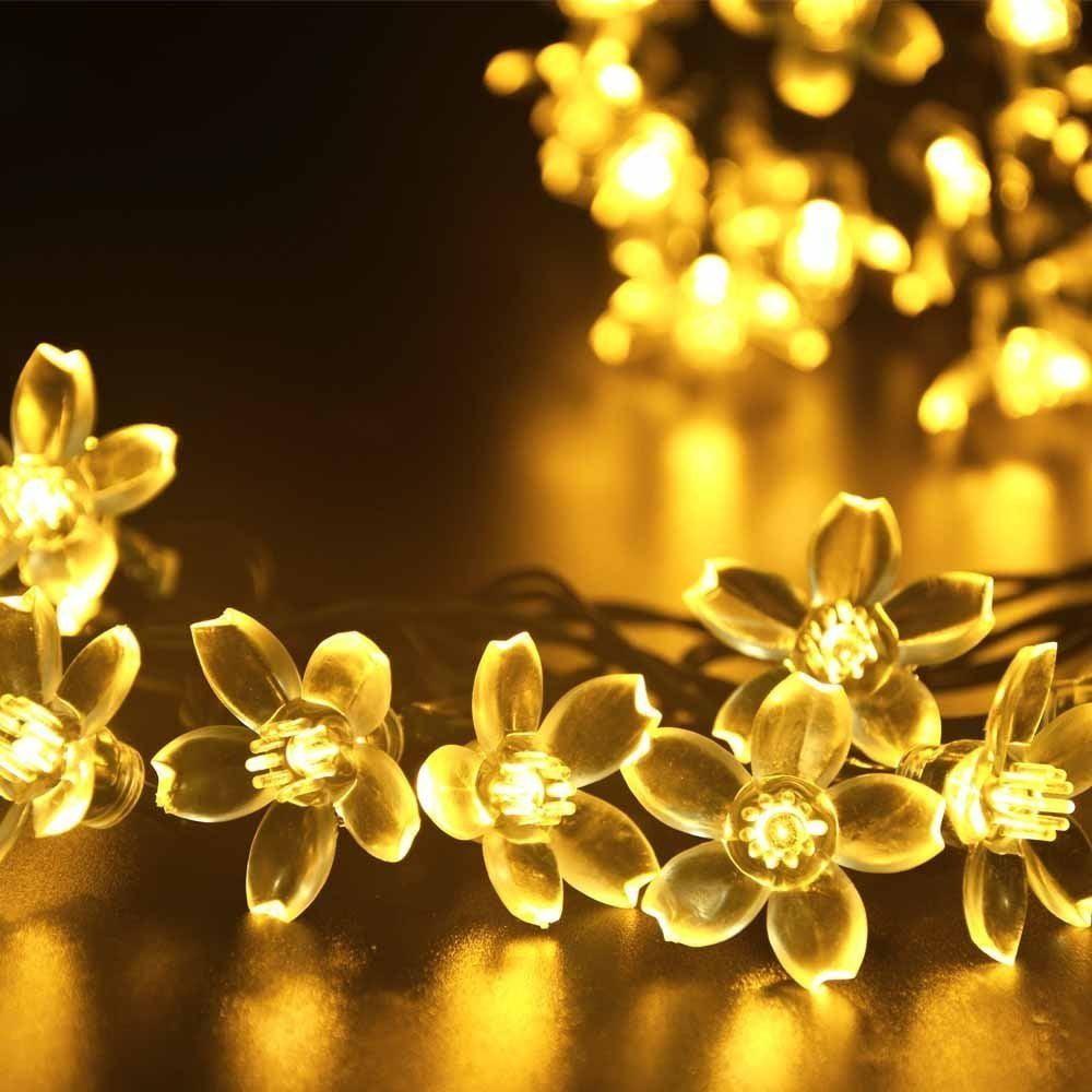 Christmas string Lights, Cherry Blossom Solar Christmas Lights for patio 23ft 50 LED Decorative Outdoor String Lights for Home,Patio,Garden,Wedding,Party (White)