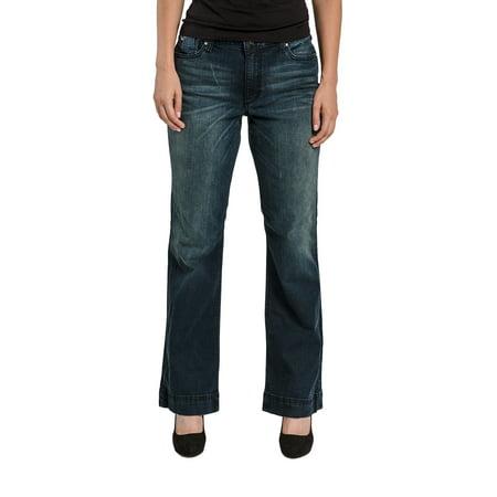 Wash Flare Jeans - Miss Halladay Women's Stretch Denim Flare Jeans Dark Blue Whisker Wash