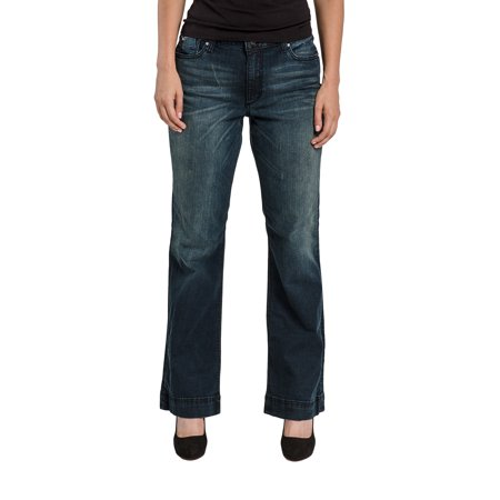 Miss Halladay Women's Stretch Denim Flare Jeans Dark Blue Whisker Wash