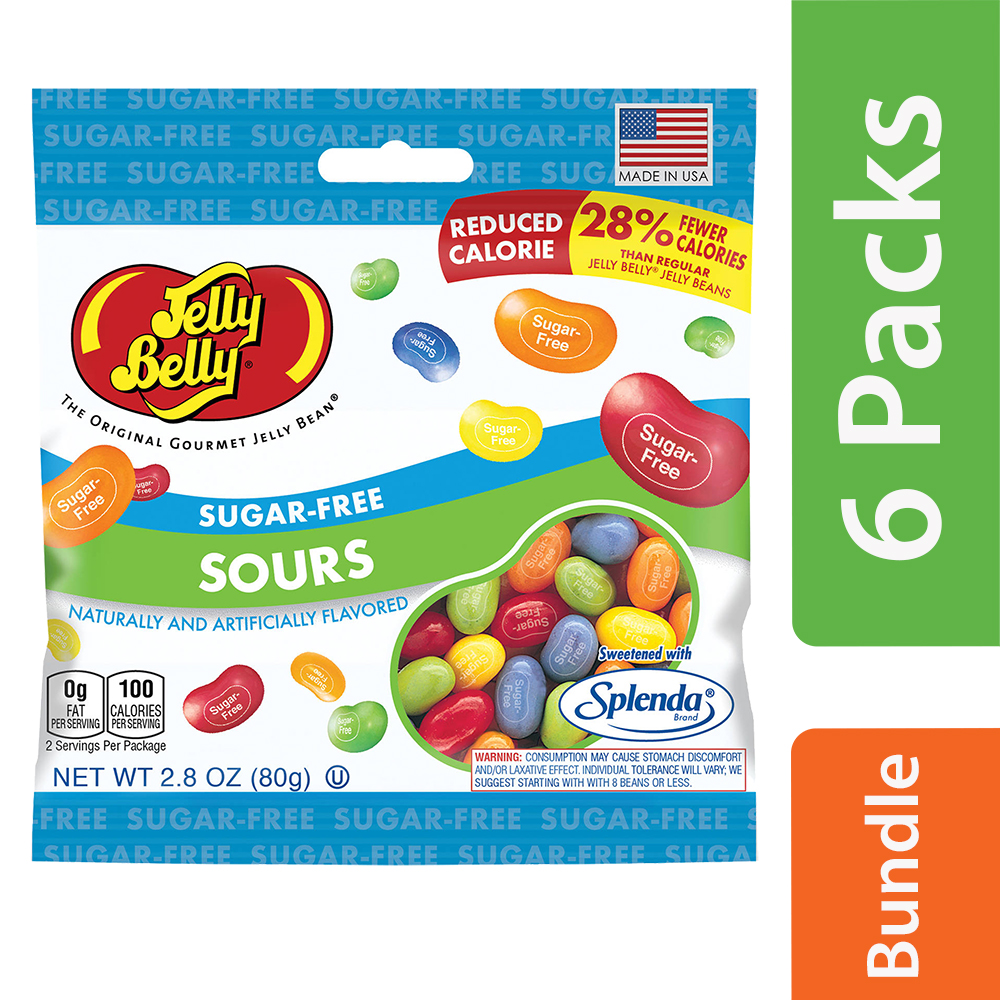 (6 Pack) Jelly Belly, Sugar Free Sours Jelly Bean 2.8 Oz