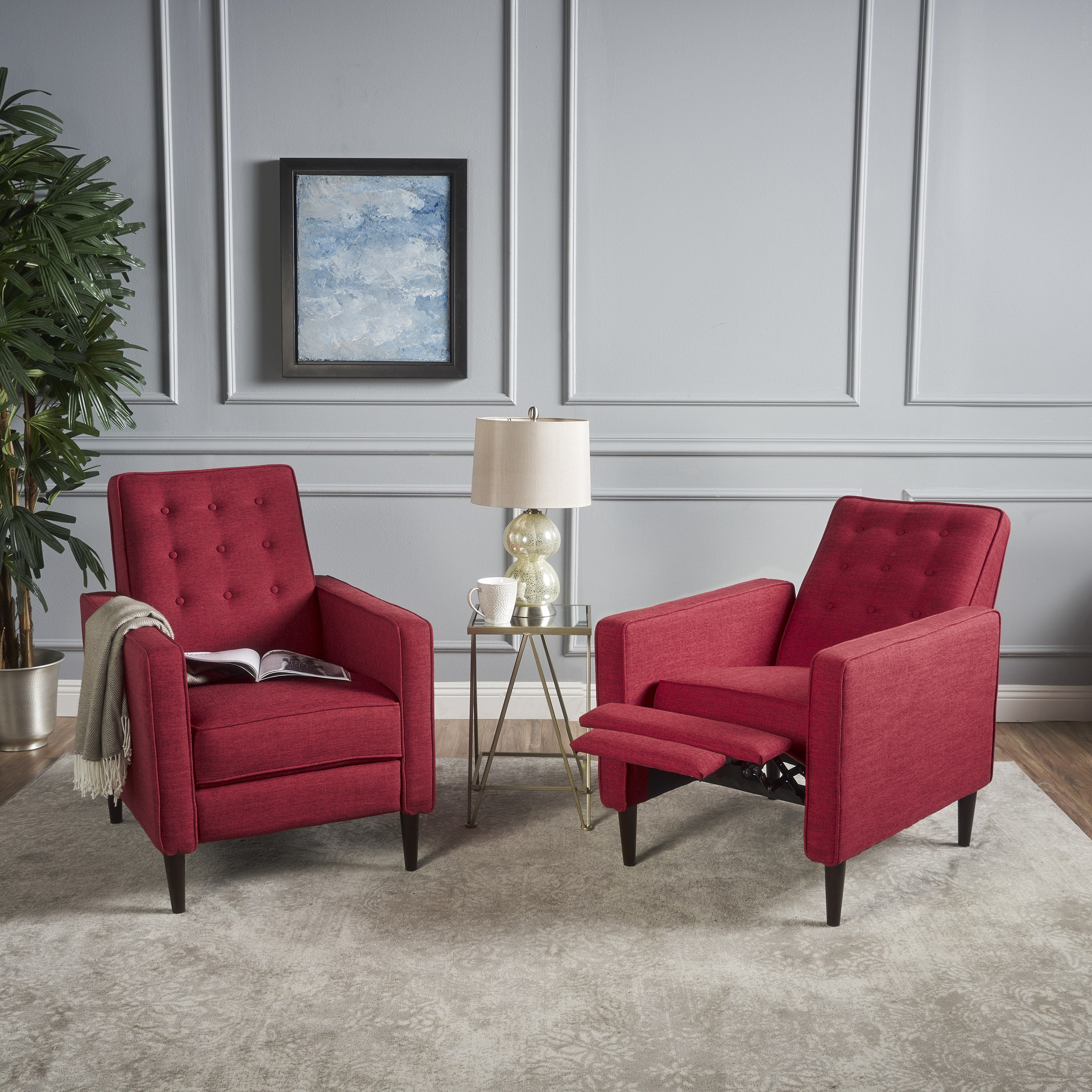 Picture of: Noble House Melvin Mid Century Modern Fabric Recliner Red Walmart Com Walmart Com