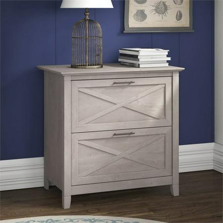 "Key West 2 Piece 54"" Single Pedestal Desk and File Cabinet Set in Washed Gray - image 6 de 17"