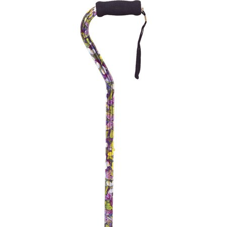 Essential Medical Supply Height Adjustable Designer Offset Handle Cane with Fashion Pattern and Foam Grip