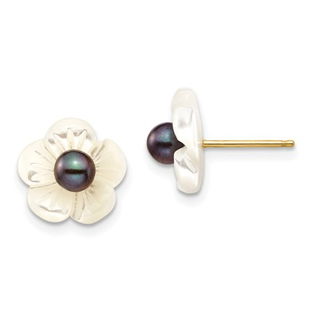 14k Yellow Gold 4mm Black Freshwater Cultured Pearl 10 Mm Mop Flower Post Stud Earrings Ball Button Gardening Gifts For Women For Her