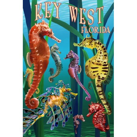 Key West, Florida - Seahorses Print Wall Art By Lantern Press ()