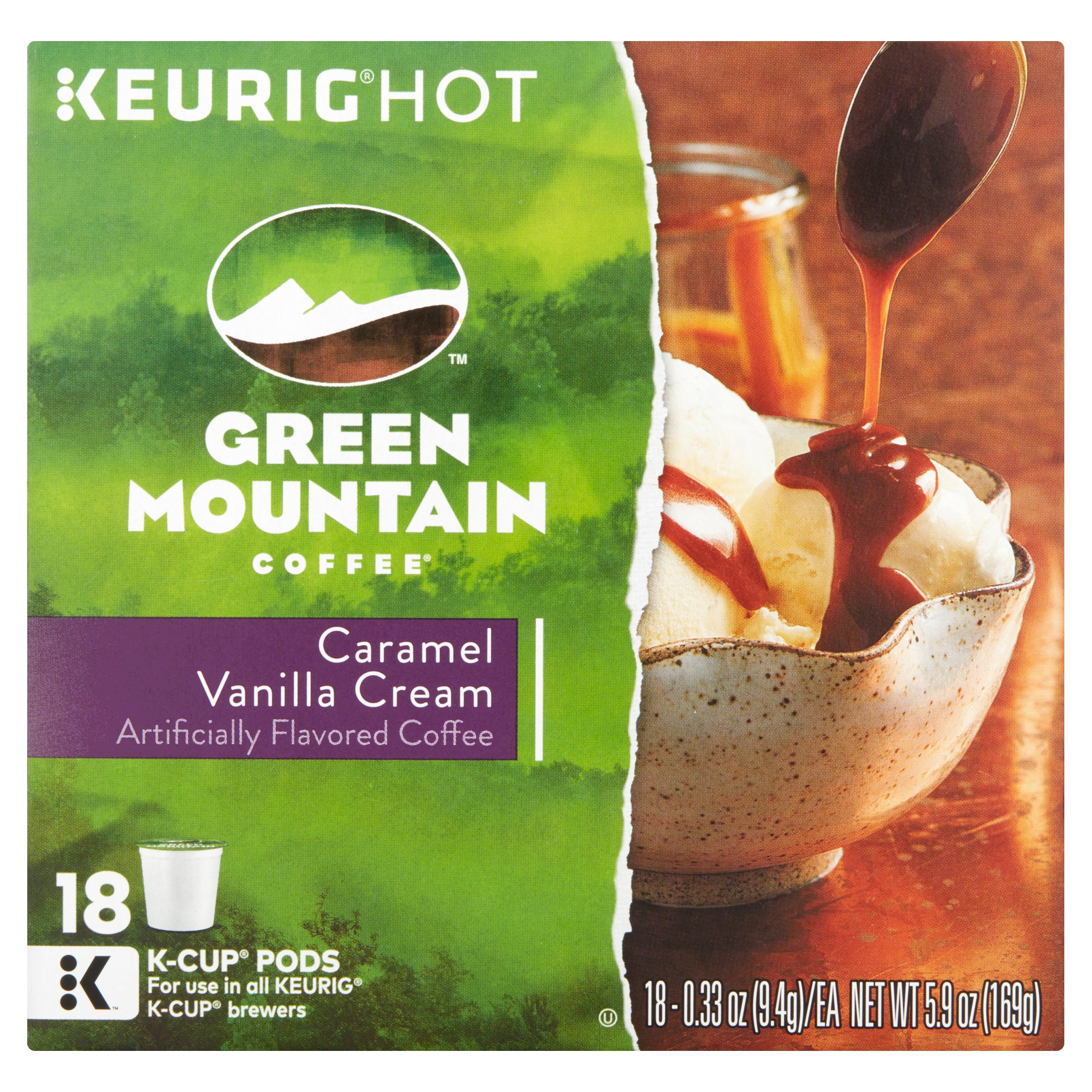 Keurig Hot Green Mountain Coffee Caramel Vanilla Cream Coffee, 0.33 oz, 18 count