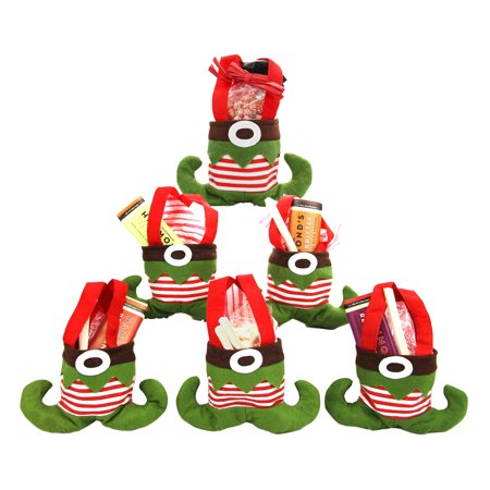 6 Elf Shoes Felt Christmas Gift Bags Holiday Present Small ...