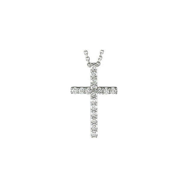 "Platinum 1 3 CTW Petite Diamond Cross 18"" Necklace by DAZYLE"