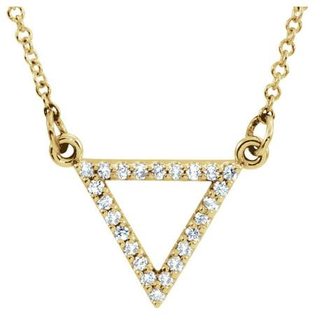Diamond Triangle Necklace - 14k Yellow Gold Polished 0.13 Dwt Diamond Triangle Necklace