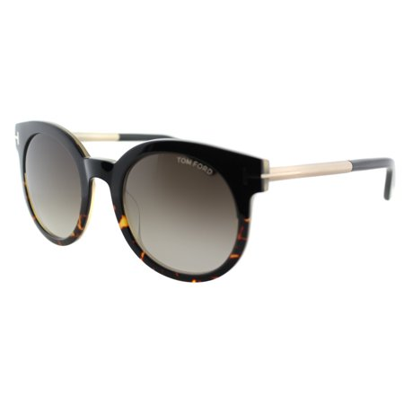 Gradiant Lens - Tom Ford TF 435 Janina 01K Shiny Black And Dark Havana Plastic Round Sunglasses Brown Gradient Lens