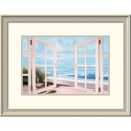Global Gallery 'Sandpiper Beach Through Door' by Diane Romanello Framed Painting Print
