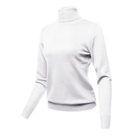 FashionOutfit Women's Solid Turtle Neck Long Sleeves Knit Sweater - Long White Hooded Cloak