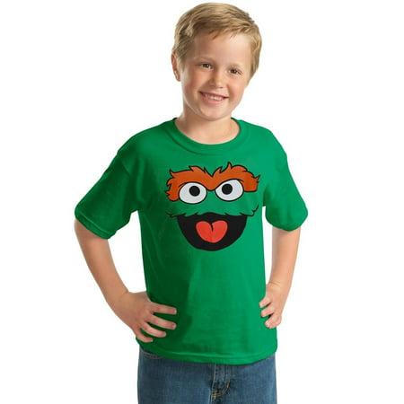 Sesame Street Oscar The Grouch Face Youth Kids T-Shirt Street Youth T-shirt
