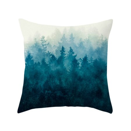 Short Plush Super Soft Chinese Ink landscape Series Pillowcase Cushion Cover Office Sofa Home (Chinese Series Cover)