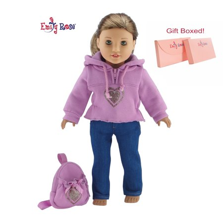 My Life as 18 Inch Doll Clothes Heart Hoodie Sweatshirt with Backpack Outfit by Emily Rose - Fits American Girl Dolls Includes 18