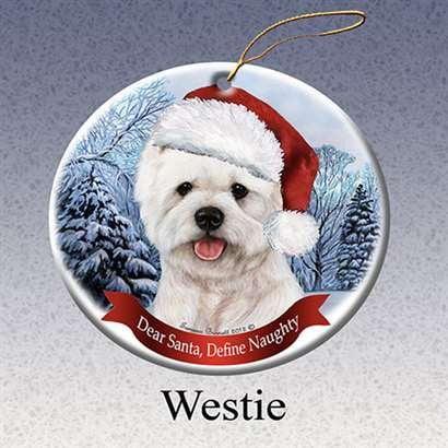 Westie West Highland Terrier White Dog Santa Hat Christmas Ornament - West Highland White Terrier Ornament