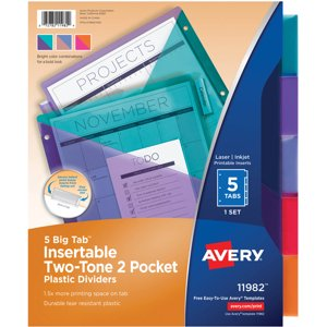 Avery Two Tone Big Tab Plastic Double Pocket Insertable Tab Dividers