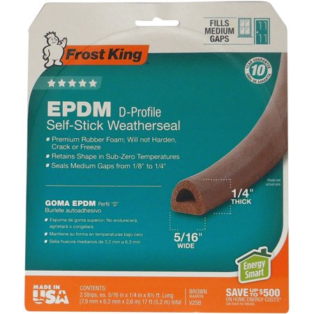 Frost King V25BA Extreme Rubber Weather-Strip Tape, Brown