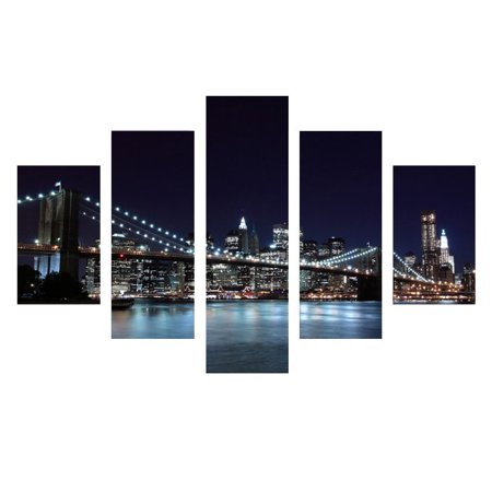 5Pcs City Bridge View Canvas Painting Print Picture Landscape New York City Wall Art Home Decor (No Frame) - Party City York