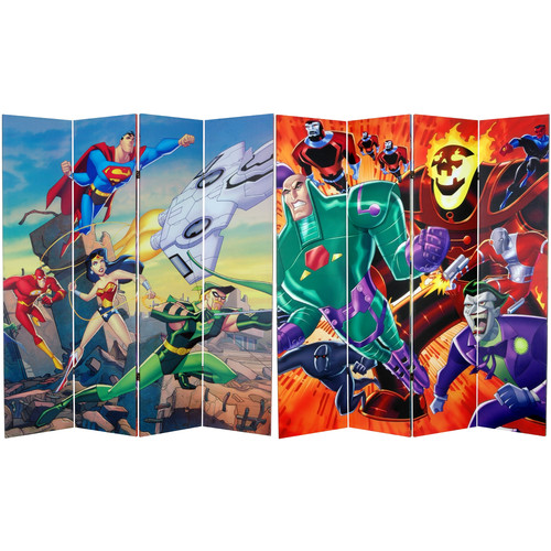 Oriental Furniture 71'' x 63'' Tall Double Sided Justice League 4 Panel Room Divider