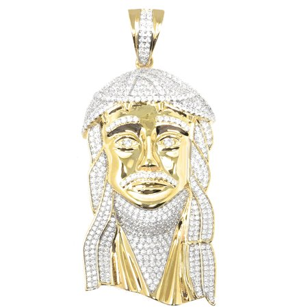 Yellow Gold Designer Custom Piece Big 3.5'' Real Silver Jesus Face Pendant Charm