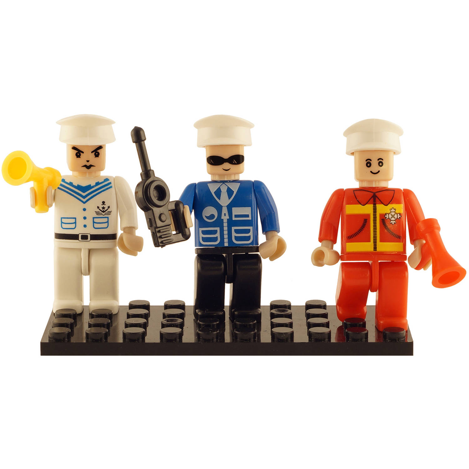Brictek 3 Mini-Figurines, Navy Police and Fire Brigade