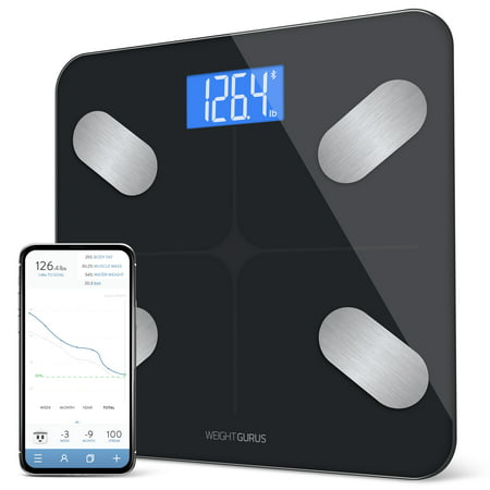 Bluetooth Digital Body Fat Scale from GreaterGoods, Body Composition Monitor and Smart Bathroom Scale with Secure Connected Solution for Your Data, Includes BMI, Body Fat, Muscle Mass, Water Weight (Bath Scales Digital Body Fat)